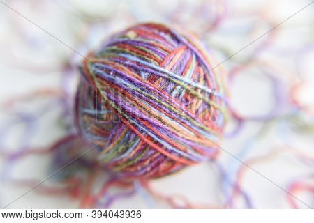 Selective Focus At Different Threads For Knitting, Diy Concept