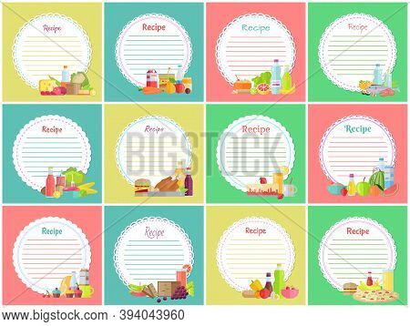 Recipe Note With Empty Lines, Sticker, Blank With Different Meal Pictures For Making Notes, Write Us