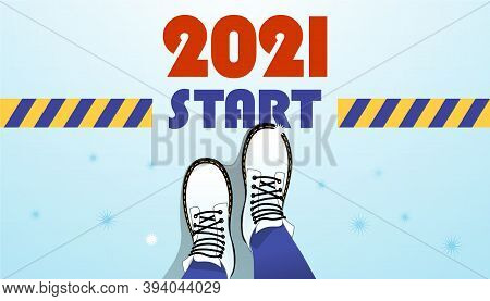 2021 New Year Start Web Page Cover, Illustration Of Top View Of Legs, Border Stripe. Psychological C