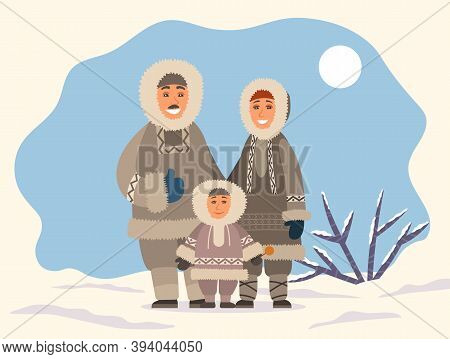 Eskimo Family Mother, Father And Son Standing Together On Snowy Landscape. Smiling Parents Hugging L
