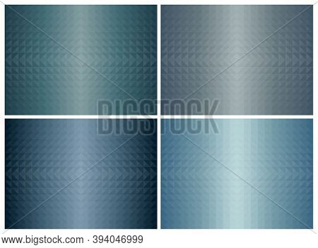 Abstract Geometric Triangle Shape Background Set, Blue Color Earth Tone. Cover Pattern Design. Vecto