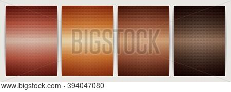 Poster Design Set Abstract Background, Geometric Shape Triangle Pyramid. Earth Tone Orange Color Des