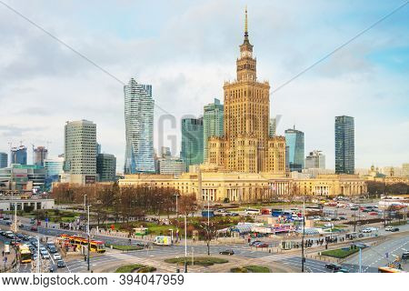 Warsaw, Poland - February 2, 2020: Urban traffic street view in Warsaw, Poland