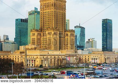 Warsaw, Poland - February 2, 2020: Palace of Culture and Science in Warsaw, Poland