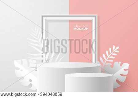 3d Round Pedestal Mockup On White Pink Backdrop. 3d Scene With Blank Podium, Picture Frame And Tropi
