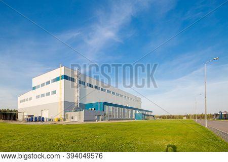 Building Of A Modern Industrial Enterprise. Summer, Blue Sky