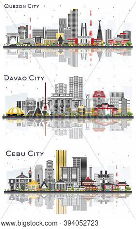 Davao City, Cebu City and Quezon City Philippines Skylines Set with Color Buildings Isolated on White.