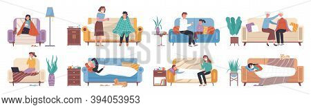 Collection Of Ill Or Sick And Recovered People On Sofa Or Couch At Home. Sick Person Having Cold. Ad