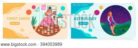 Tarot Reader Or Fortune Teller Reading And Forecasting Future Using Tarot Card. Astrology Vector Con