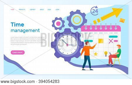Time Management Landing Page Template. Concept Planning, Time Organization Of Working Day. Businessm