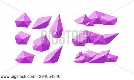 Crystals Broken Into Pieces. Set Of Smashed Pink Crystals. Broken Amethyst Gemstones For Rocky Lands