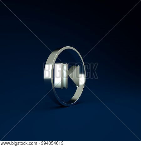 Silver Rewind Icon Isolated On Blue Background. Minimalism Concept. 3d Illustration 3d Render