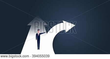 Choose The Right Direction Going Forward - Alternative Way, Business Decision Design Concept With Bu