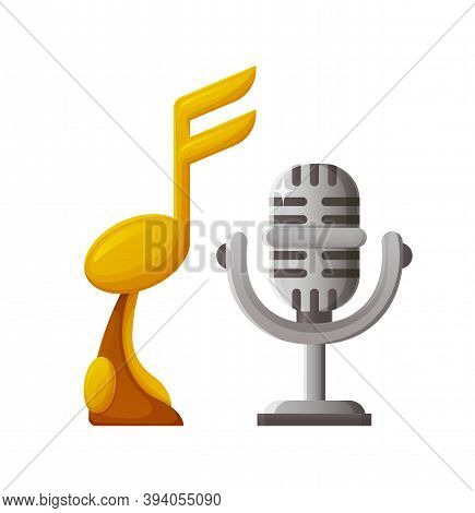 Awards Made Of Gold And Silver Vector, Trophy For Winner Of Contest, Note And Microphone On Pedestal
