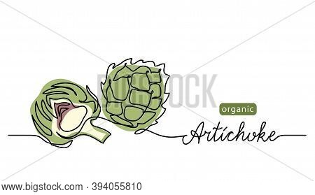 Artichoke Vector Illustration. One Line Drawing Art Color Illustration With Lettering Organic Artich