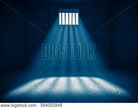 interior of a prison, light from a barred window. 3d render. concept of deprivation of liberty.