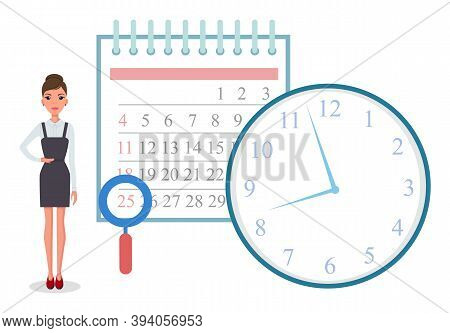 Business Operations Planning And Scheduling Concept With Businesswoman Standing Near Calendar And Ti