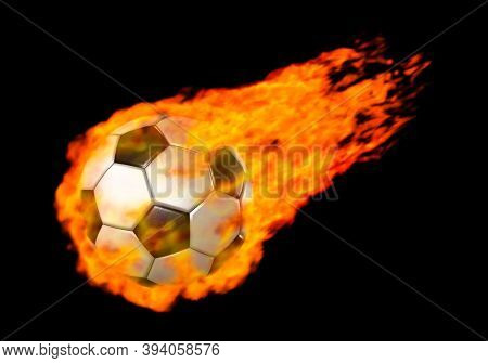 3D Illustration of a Flying soccer ball burning in red flames Isolated over black background