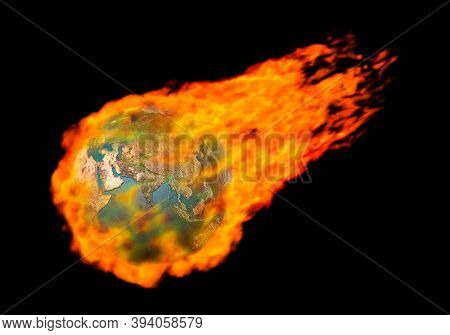 3D illustration of a Burning in flames flying Earth globe Global warming fossil fuel greenhouse gases ecology environmental concept Isolated silhouette over black background