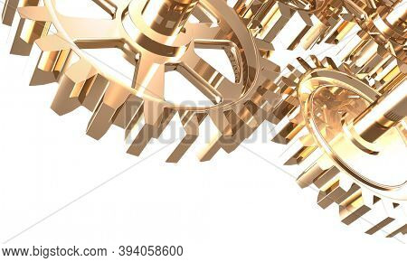 3D illustration of shiny steel gears isolated on white background