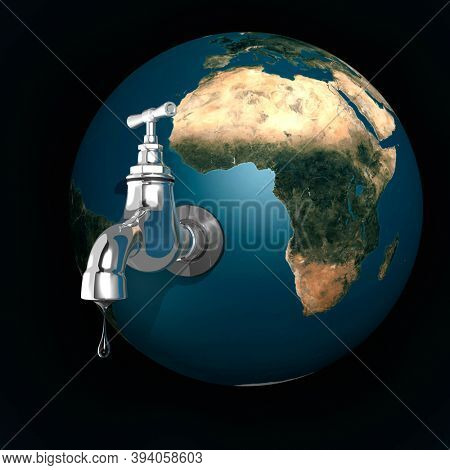 Water dripping from an open tap attached to the Earth. 3D illustration Isolated on dark blue background.