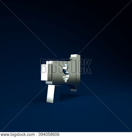 Silver Megaphone And Dollar Icon Isolated On Blue Background. Loud Speach Alert Concept. Bullhorn Fo