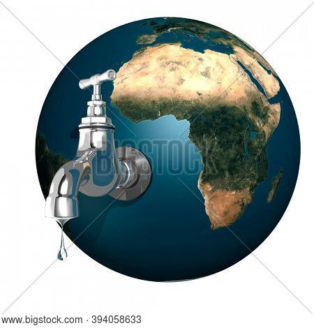 Water dripping from an open tap attached to the Earth. 3D illustration Isolated on white background.
