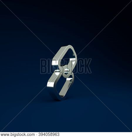 Silver Chain Link Icon Isolated On Blue Background. Link Single. Minimalism Concept. 3d Illustration
