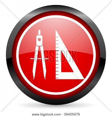 e-Learning Runde rote glänzende Symbol auf weißem Hintergrund