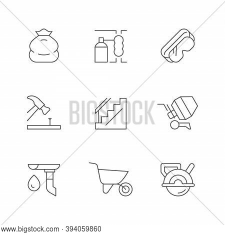 Set Line Icons Of House Repair Isolated On White. Rubbish Sack, Polyurethane Foam, Protective Glass,