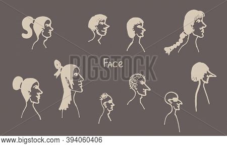 Half Face Silhouette. Vector Hand Drawn Ink Illustration. Peoples Head Side View. Simple Line Art Po