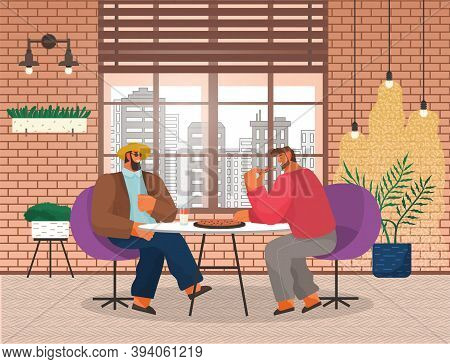 Two Men Friends Sitting At A Table Eating Pizza In Pizzeria. Stylish Male Characters Having Lunch In