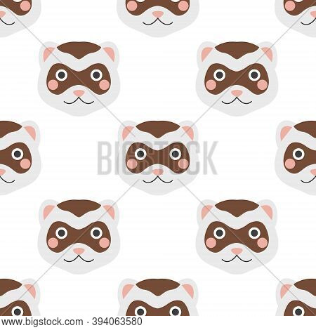 The Face Of A Ferret. Vector Seamless Pattern On A White Background, Cute Children's Illustration