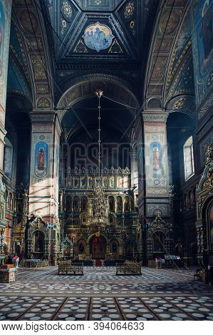 Orthodox Church Interior. Ascension Cathedral, Yelets, Russia, October 24, 2020