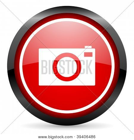 camera round red glossy icon on white background