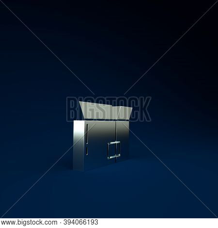 Silver Carton Cardboard Box Icon Isolated On Blue Background. Box, Package, Parcel Sign. Delivery An