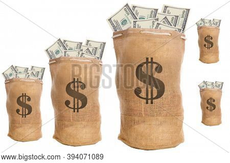 US Money. Wallpaper or background of repeating US Money pattern. Money Bags. Burlap Bags packed with MONEY. Isolated on white. Various sizes of Cash Bags with clipping path.