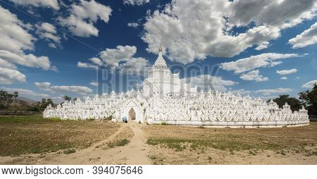 Beautiful white Hsinbyume Pagoda in Mingun, Western bank of Irrawaddy river, Myanmar