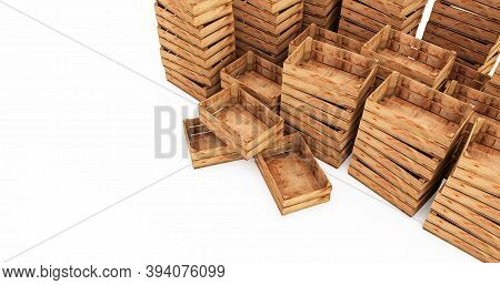 3d Render Of Wooden Crates Stack Isolated On White Background. Empty Wooden Crates