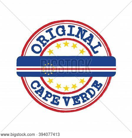 Vector Stamp Of Original Logo With Text Cape Verde And Tying In The Middle With Nation Flag. Grunge