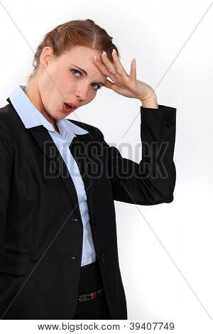 Relieved businesswoman