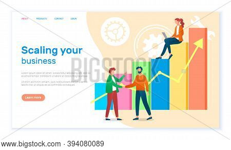 Scaling Your Business Landing Page Template. Success, Achievement, Motivation Business Banner. Group