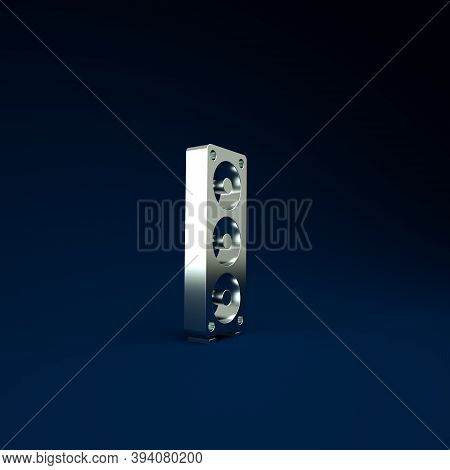 Silver Stereo Speaker Icon Isolated On Blue Background. Sound System Speakers. Music Icon. Musical C
