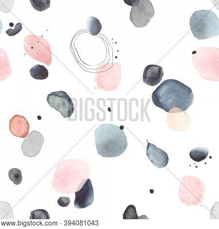 Watercolor abstract pattern with creative elements blue, indigo, gray and pink colors, scattered on white background. Seamless texture of spots, stains, dots and circles for your design.