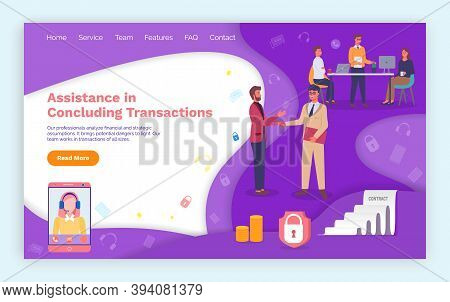 Assistance In Concluding Transactions Landing Page Design Template. Businessmen Handshaking, Conclus