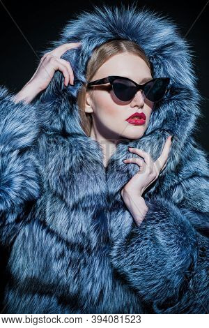 Winter style, fur coat fashion. Portrait of a beautiful glamorous woman in a silver fox fur coat with hood.