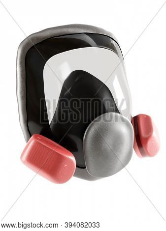 3D rendering of full facepiece respirator with interchangeable filter cartridges shot over white