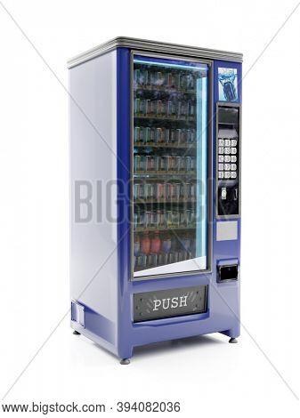 3D rendering of blue soda vending machine on white background