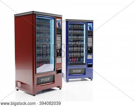 3D rendering of two soda vending machine on white background