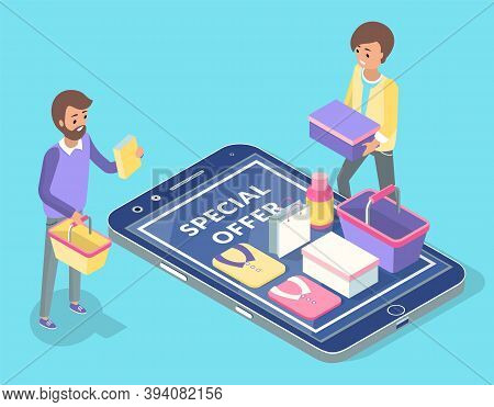 Sale Poster, Special Offer Banner Internet Shopping Vector Illustration. Online Shopping Concept Sal